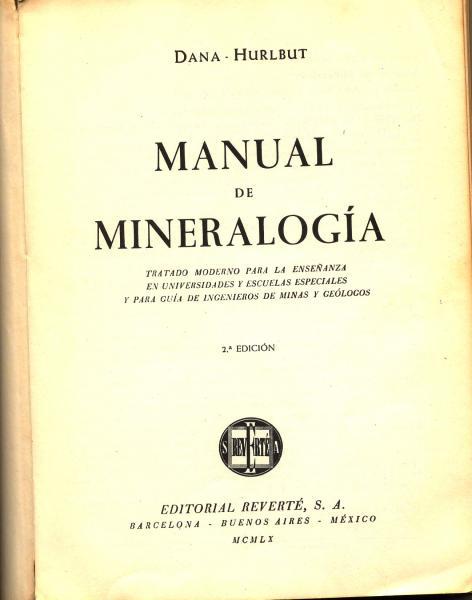 Manual de Mineralogía por Dana Hurlbut